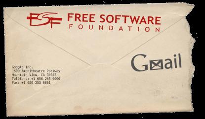 Sobre con sellos de google y la fsf