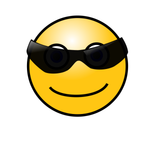 cara tipo smiley emoticon con gafas oscuras